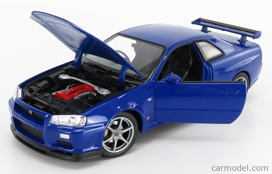 WELLY WE24108B Scale 1/24  NISSAN SKYLINE GT-R (R34) 1999 BLUE