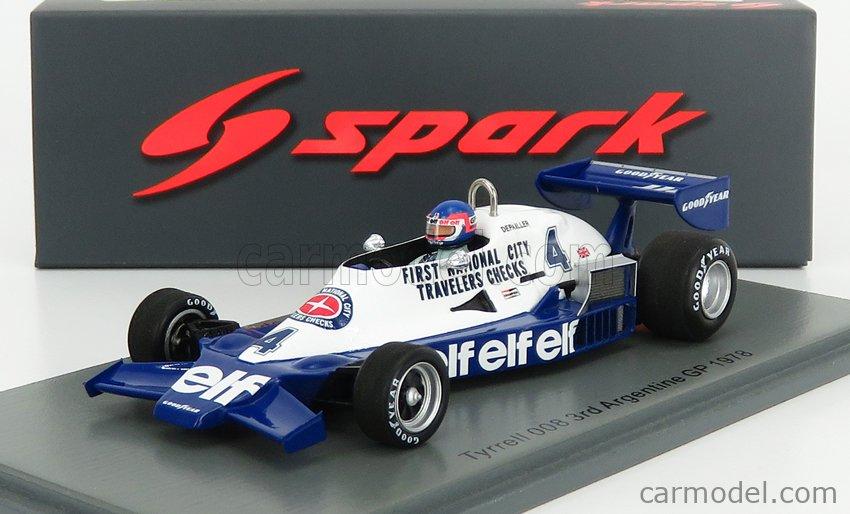 SPARK-MODEL S7236 Echelle 1/43  TYRRELL F1  008 N 4 3rd ARGENTINE GP 1978 P.DEPAILLER BLUE WHITE