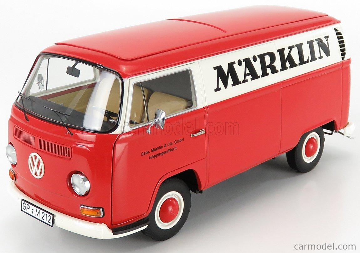 SCHUCO 450019900 Scale 1/18  VOLKSWAGEN T1 VAN PUBLICITAIRE MARKLIN 1962 RED CREAM