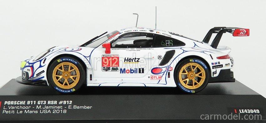 IXO-MODELS LE43049 Scale 1/43  PORSCHE 911 991 RSR PORSCHE GT TEAM N 912 2nd GTLM-CLASS PETIT LE MANS ROAD ATLANTA 2018 E.BAMBER - L.VANTHOOR - M.JAMINET WHITE