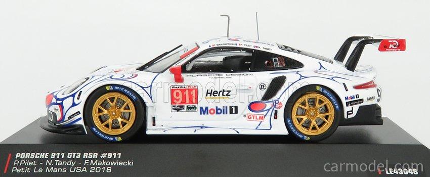 IXO-MODELS LE43048 Echelle 1/43  PORSCHE 911 991 RSR TEAM PORSCHE GT N 911 WINNER GTLM CLASS PETIT LE MANS ROAD ATLANTA 2018 P.PILET - N.TANDY - F.MAKOWIECKI WHITE