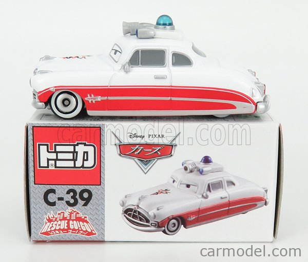 TOMICA C39 Scale 1/64  WALT DISNEY PIXAR CARS - RESCUE GO DOCK HUDSON AMBULANCE WHITE RED