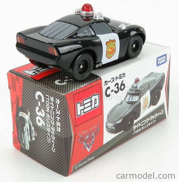 TOMICA C36 Scale 1/64  WALT DISNEY PIXAR CARS - LIGHTNING MCQUEEN POLICE BLACK WHITE