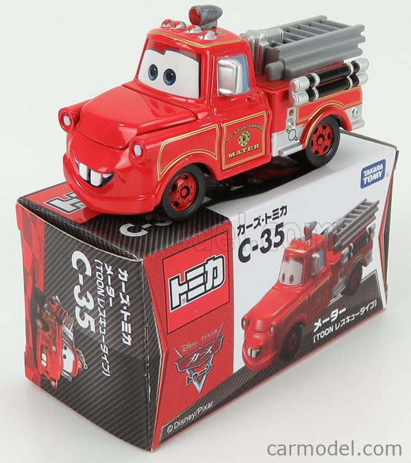TOMICA C35 Scale 1/64  WALT DISNEY PIXAR CARS - TOON RESCUE SQUAD MATER FIRE ENGINE RED