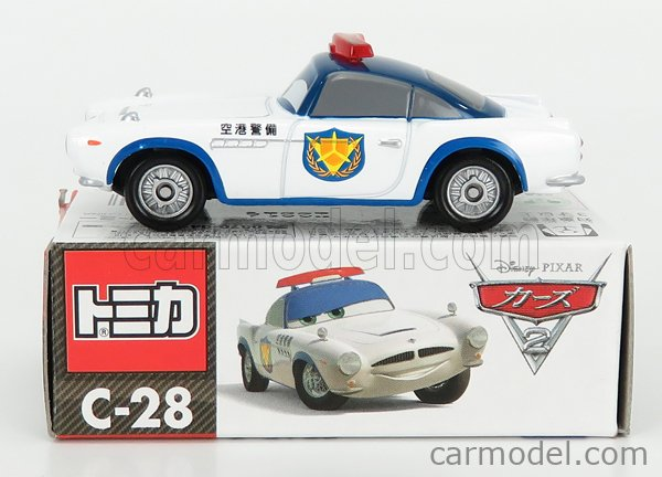 TOMICA C28 Scale 1/64  WALT DISNEY PIXAR CARS - SECURITY FINN MC MISSILE POLICE WHITE BLUE