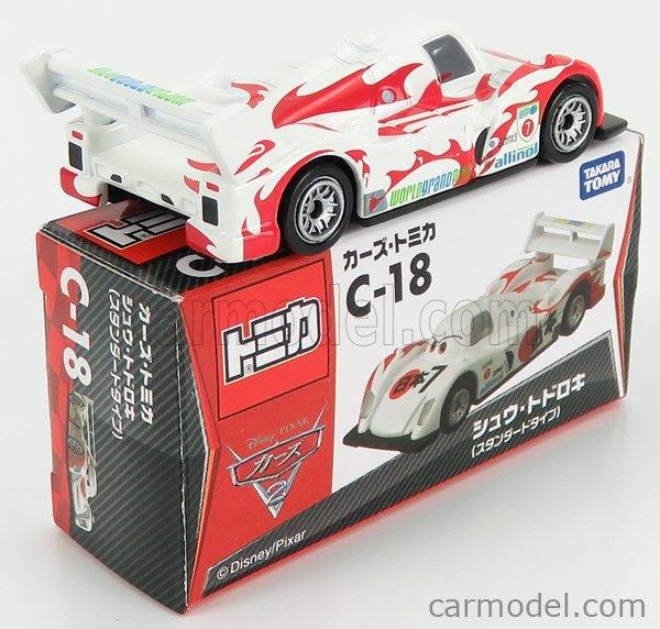 TOMICA C18 Scale 1/64  WALT DISNEY PIXAR CARS - SHU TODOROKO WHITE RED