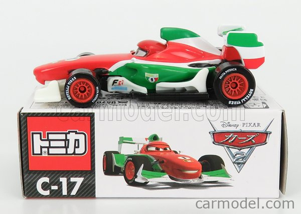 TOMICA C17 Scale 1/64  WALT DISNEY PIXAR CARS - RANCESCO BERNOULLI F1 RED GREEN WHITE