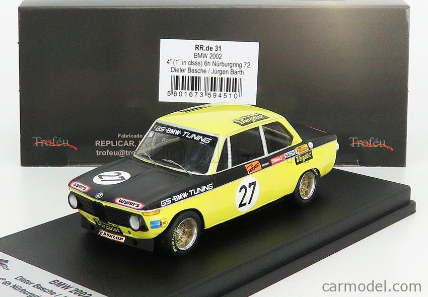 TROFEU TRRDE31 Scale 1/43  BMW 2002 TI VERGOLST N 27 (WINNER CLASS) 4th 6h NURBURGRING 1972 D.BASCHE - J.BARTH YELLOW BLACK