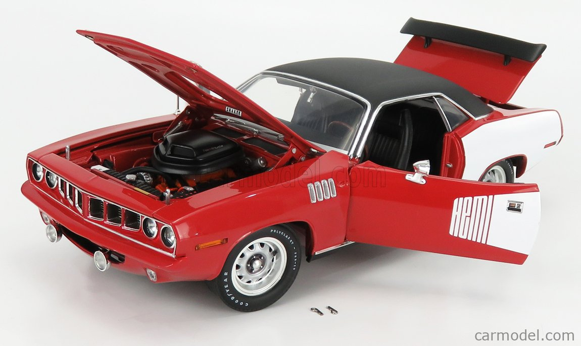 ACME-MODELS A1806121 Scale 1/18  PLYMOUTH BARRACUDA HEMI COUPE 1971 RED WHITE BLACK