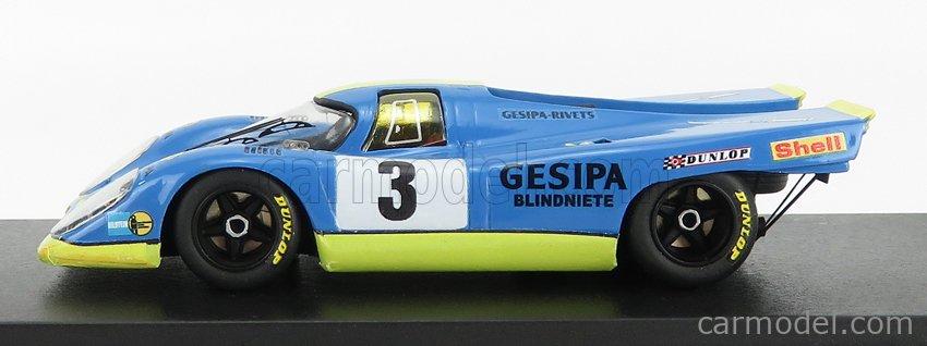REMEMBER 144225 Echelle 1/43  PORSCHE 917K 4.9L TEAM GESIPA N 3 1000km PARIGI 1970 J.NEUHAUS - W.KAUHSEN BLUE YELLOW