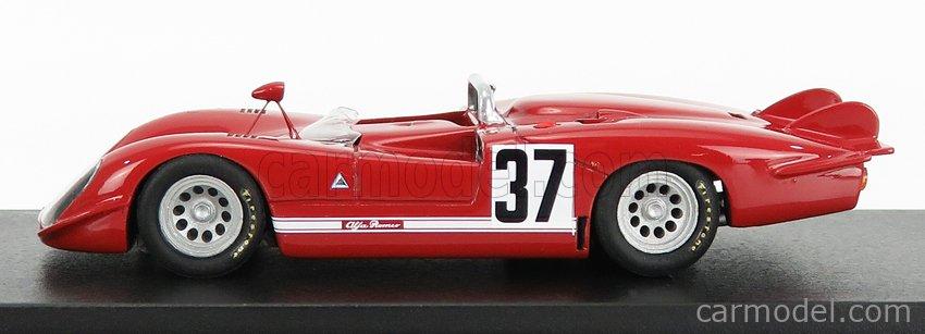 REMEMBER 144227 Echelle 1/43  ALFA ROMEO T33/3 3.0L V8 SPIDER LONG TAIL TEAM AUTODELTA SPA N 37 TEST 24h LE MANS 1970 T.HEZEMANS - M.GREGORY RED