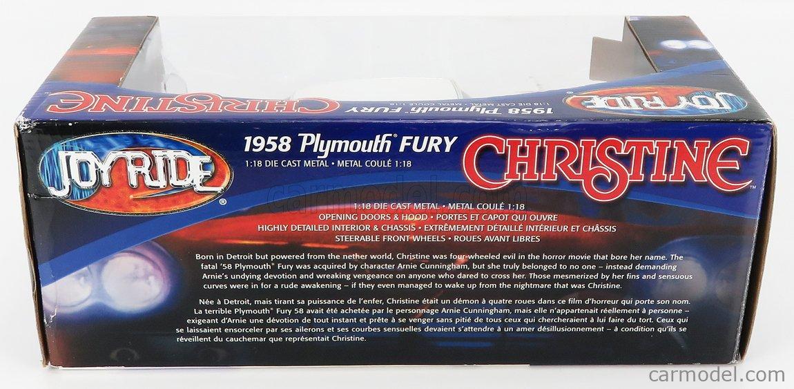 ERTL 33853 Scale 1/18  PLYMOUTH FURY 2-DOOR 1958 - CHRISTINE LA MACCHINA INFERNALE FILM - MOVIE RED WHITE