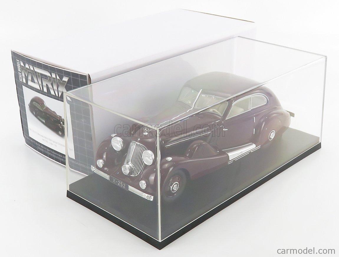 MATRIX SCALE MODELS MXL1302-012 Scale 1/18  MERCEDES BENZ 500K SPEZIAL STREAMELINED 1935 - PERSONAL CAR TAN TJOAN KENG - CON VETRINA - WITH SHOWCASE BROWN