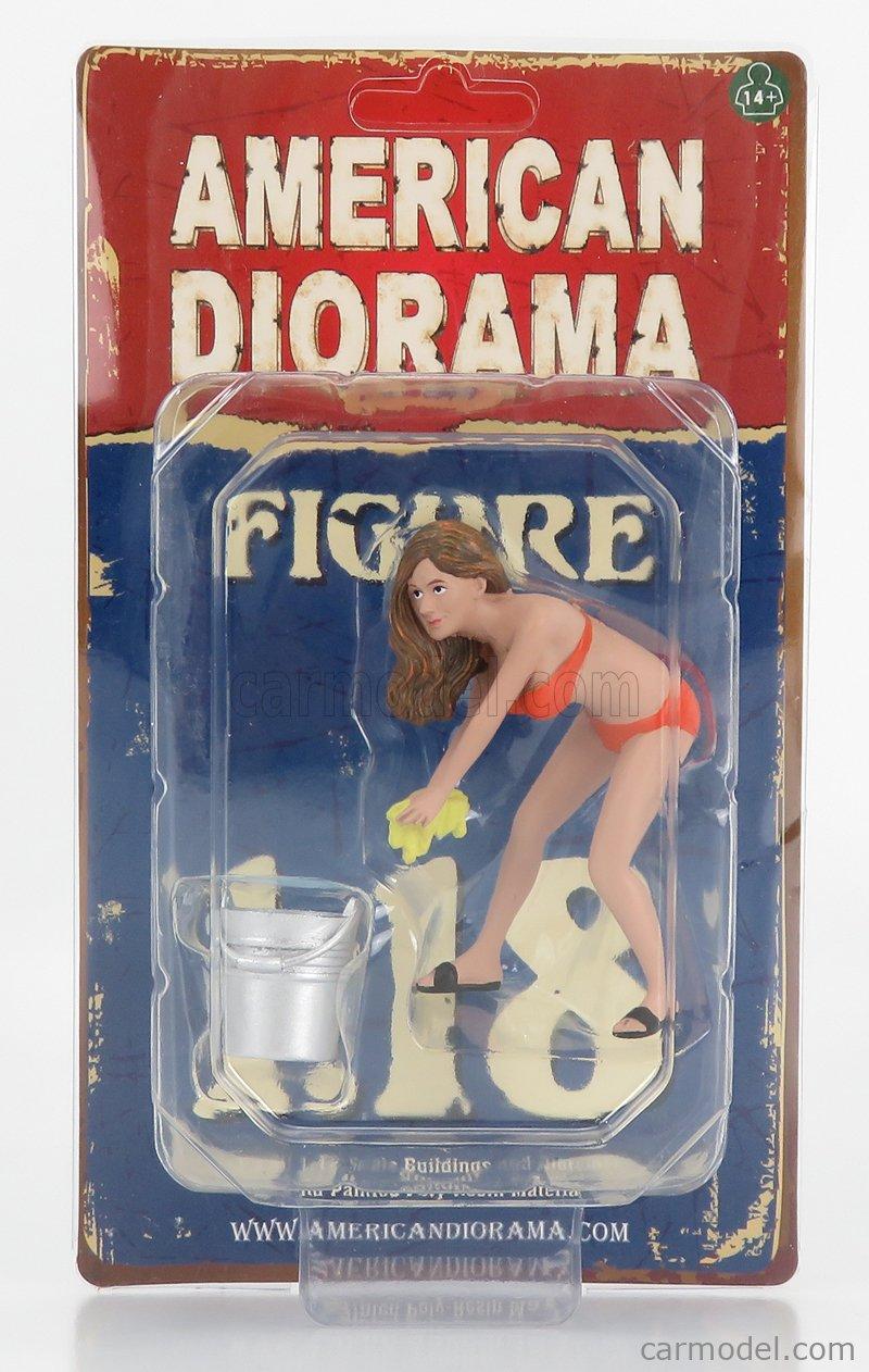 AMERICAN DIORAMA 76264 Echelle 1/18  FIGURES CINDY - GIRL BIKINI CAR WASH ORANGE CREAM