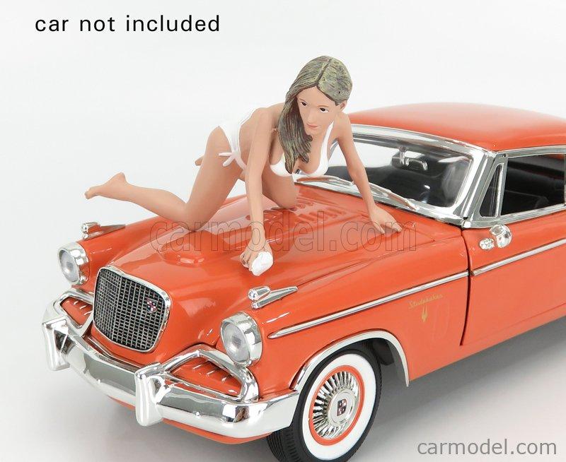 AMERICAN DIORAMA 76263 Echelle 1/18  FIGURES JENNY - GIRL BIKINI CAR WASH WHITE CREAM