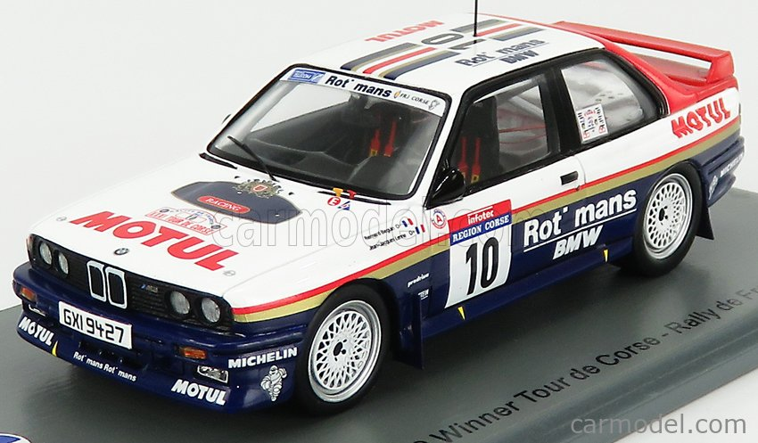 SPARK-MODEL SF148 Scale 1/43  BMW 3-SERIES M3 (E30) ROTHMANS N 10 WINNER RALLY TOR DE CORSE 1987 B.BEGUIN - J.J.LENNE WHITE BLUE RED