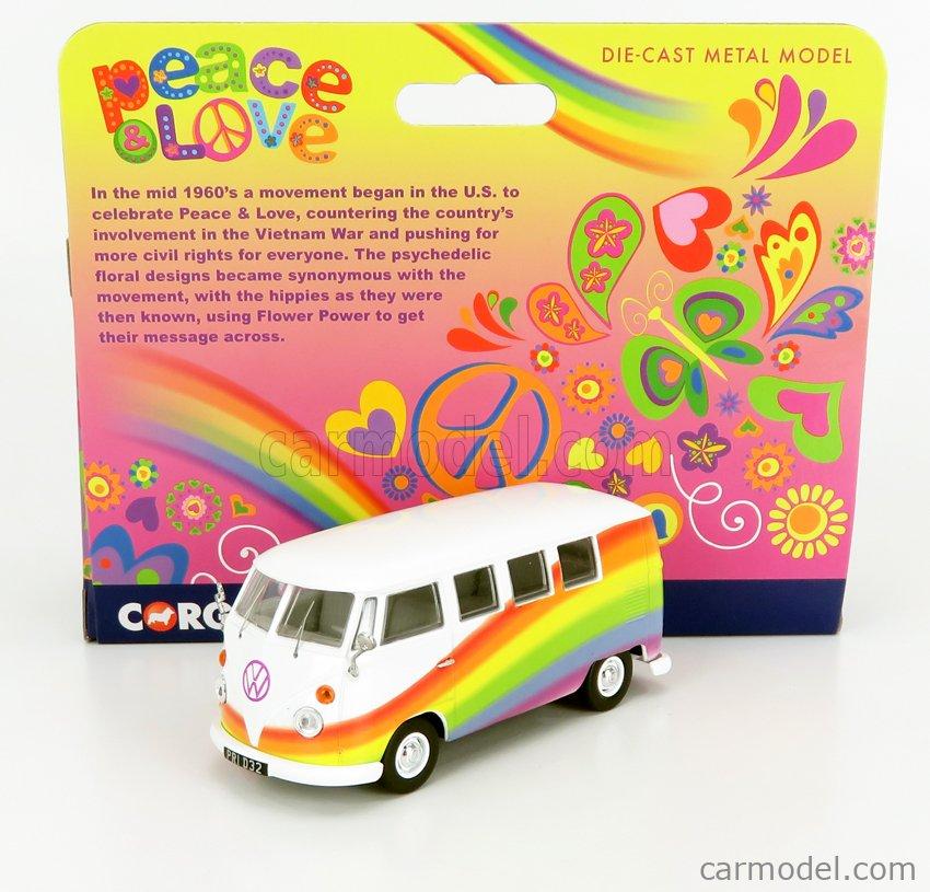 CORGI CC02739 Scale 1/43  VOLKSWAGEN T1 MINIBUS PEACE & LOVE RAINBOWS 1961 VARIOUS