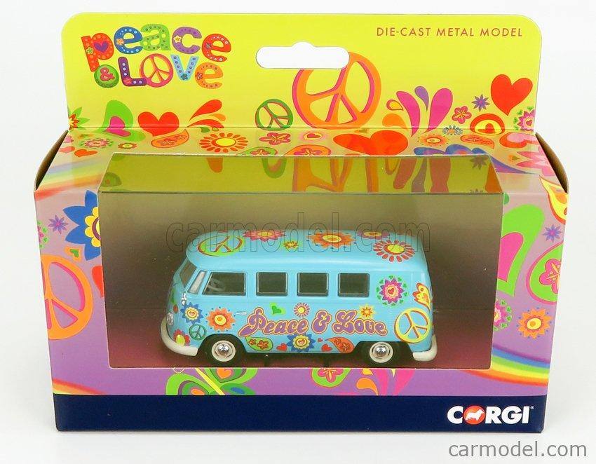 CORGI CC02738 Scale 1/43  VOLKSWAGEN T1 MINIBUS PEACE & LOVE 1961 LIGHT BLUE