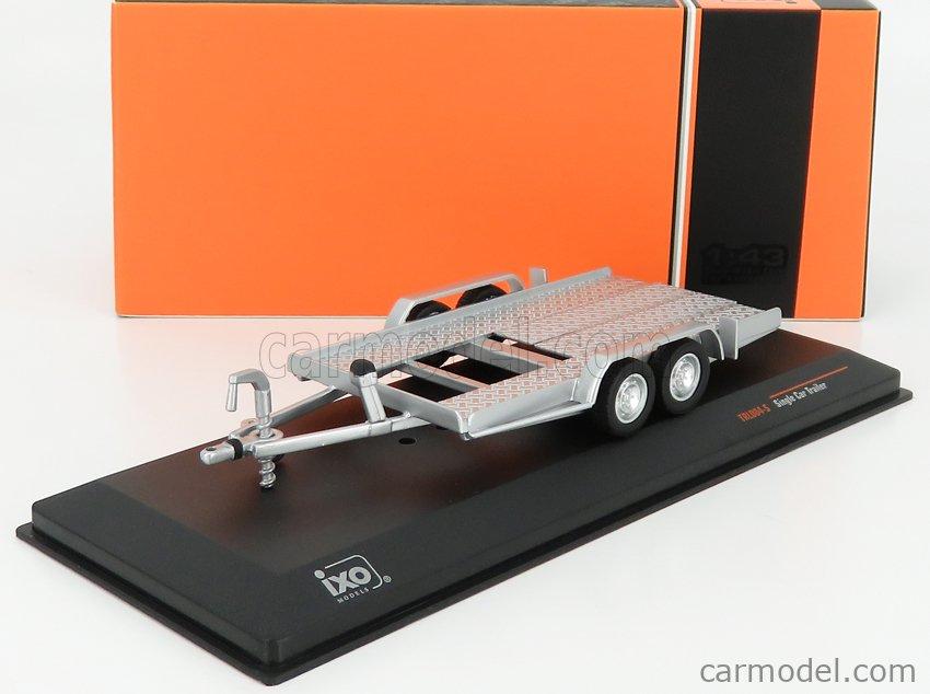 IXO-MODELS TRL004-S Масштаб 1/43  ACCESSORIES CARRELLO TRASPORTO AUTO - CAR TRANSPORTER TRAILER SILVER WHEELS - CAR NOT INCLUDED SILVER BLACK