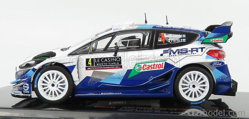 IXO-MODELS RAM746 Scale 1/43  FORD ENGLAND FIESTA WRC TEAM M-SPORT FORD WRT N 4 4th RALLY MONTECARLO 2020 E.LAPPI - J.FERN 2 TONE BLUE WHITE
