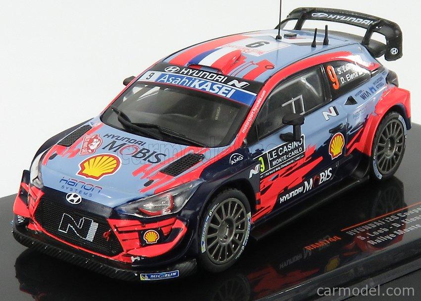 IXO-MODELS RAM744 Scale 1/43  HYUNDAI i20 WRC TEAM SHELL MOBIS WRT N 9 6th RALLY MONTECARLO 2020 S.LOEB - D.ELENA 2 TONE BLUE RED