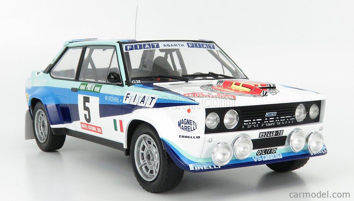 IXO-MODELS 18RMC053B Scale 1/18  FIAT 131 ABARTH TEAM FIAT WORKS (night version) N 5 WINNER RALLY PORTUGAL 1980 W.ROHRL - C.GEISTDORFER WHITE BLUE