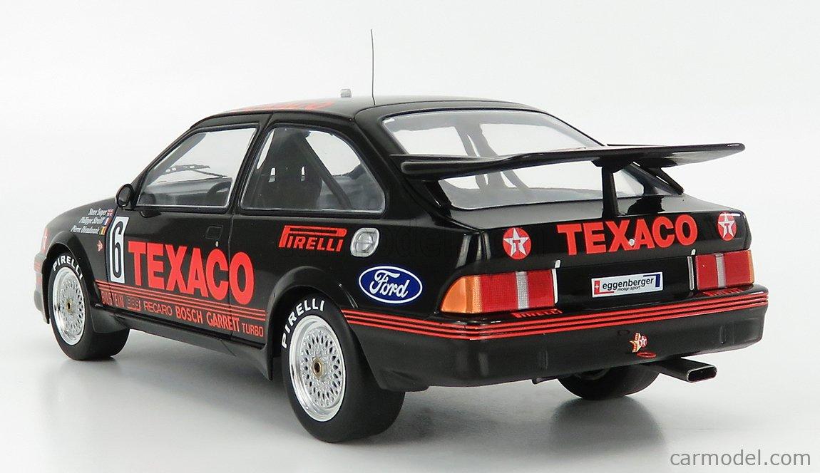IXO-MODELS 18RMC051C Echelle 1/18  FORD ENGLAND SIERRA RS500 COSWORTH TEAM EGGENBERGER MOTORSPORT TEXACO N 6 WTCC 24h SPA 1987 S.SOPER - P.DIEUDONNE - P.STREIFF BLACK RED