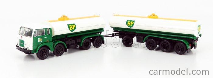 BREKINA PLAST BRE58458 Masstab: 1/87  FIAT 690 MILLEPIEDI TANKER TRUCK BP 1960 GREEN WHITE YELLOW BLACK
