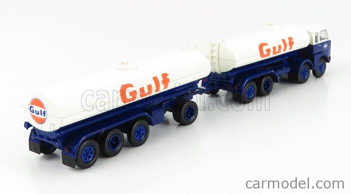 BREKINA PLAST BRE58457 Scale 1/87  FIAT 690 MILLEPIEDI TANKER TRUCK GULF 1960 BLUE WHITE