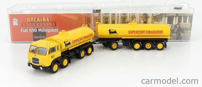 BREKINA PLAST BRE58452 Scale 1/87  FIAT 690 MILLEPIEDI TANKER TRUCK SUPERCORTEMAGGIORE AGIP 1960 YELLOW BLACK