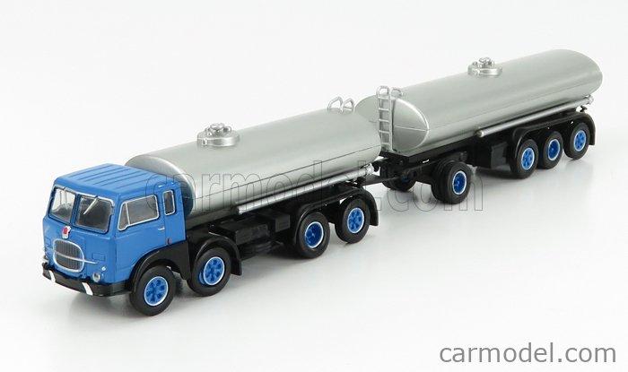BREKINA PLAST BRE58451 Scale 1/87  FIAT 690 MILLEPIEDI TANKER TRUCK 1960 BLUE BLACK SILVER