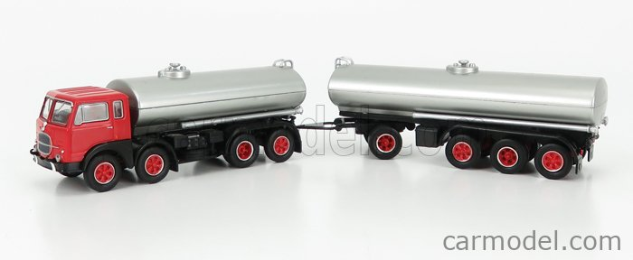 BREKINA PLAST BRE58450 Scale 1/87  FIAT 690 MILLEPIEDI TANKER TRUCK 1960 RED BLACK SILVER