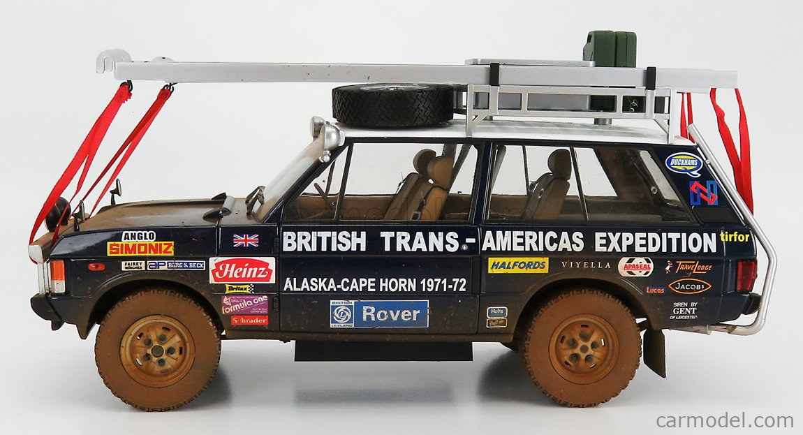 ALMOST-REAL ALM810113 Echelle 1/18  LAND ROVER TARGA ID.PLATE 868K - RANGE ROVER N 0 RALLY BRITISH TRANS AMERICAS EXPEDITION EDITION ALASKA-CAPE HORN DIRTY VERSION 1971-1972 BLUE