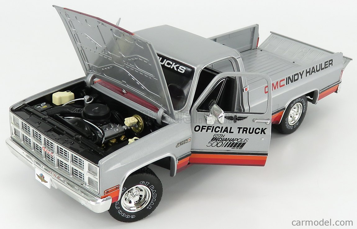 GREENLIGHT 13563 Scale 1/18  GMC SIERRA 1500 CLASSIC PICK-UP OFFICIAL TRUCK 65th INDIANAPOLIS 500 MILE RACE 1981 SILVER