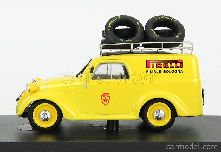 BRUMM R492-UPD-2021 Scale 1/43  FIAT 500B VAN PUBBLICITARIO PIRELLI BOLOGNA ASSISTENZA MILLE MIGLIA 1950 YELLOW