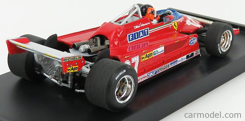BRUMM R390-CH-UPD-2021 Scale 1/43  FERRARI F1  126CK TURBO N 27 ITALY GP 1981 GILLES VILLENEUVE - WITH DRIVER FIGURE RED