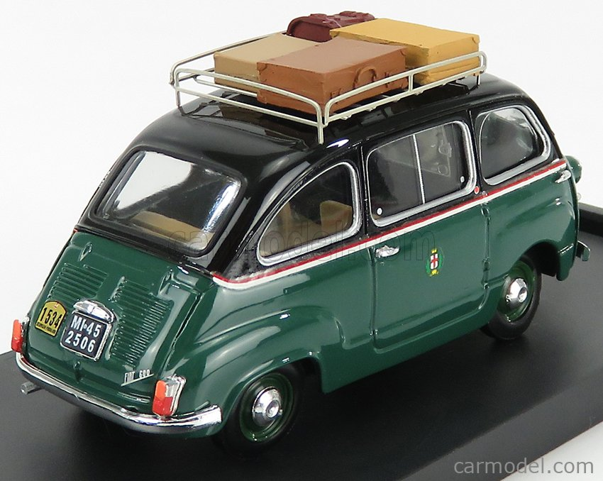 BRUMM R334-UPD-2021 Scale 1/43  FIAT 600D MULTIPLA TAXI MILANO 1960 GREEN BLACK