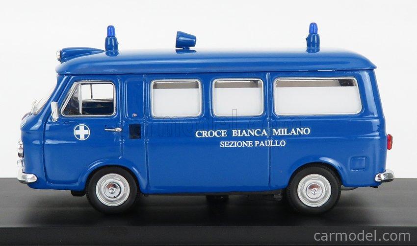 RIO-MODELS 4651 Scale 1/43  FIAT 238 AMBULANZA CROCE BIANCA MILANO SEZIONE PAULLO 1970 BLUE