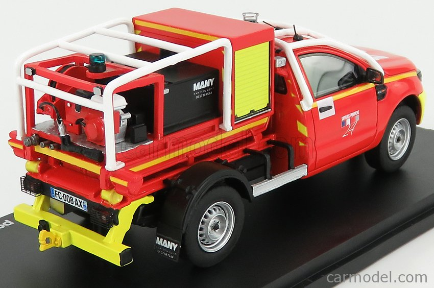 ALARME ALARME0036 Масштаб 1/43  FORD USA RANGER PICK-UP VLHRP SDIS 24 SAPEURS POMPIERS 2017 RED YELLOW