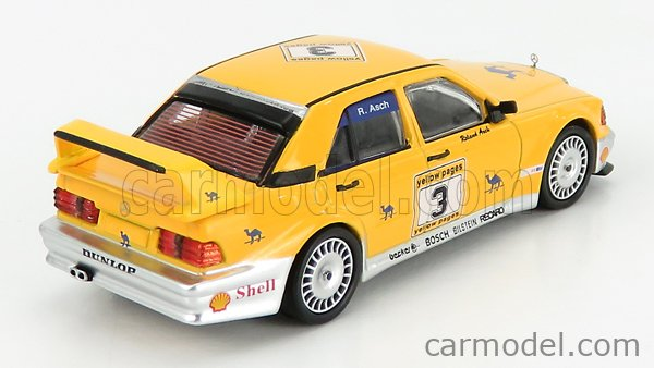 TRUESCALE MGT00187-L Echelle 1/64  MERCEDES BENZ 190E 2.5 16V EVO2 CAMEL N 3 YELLOW PAGES LHD 1990 YELLOW SILVER