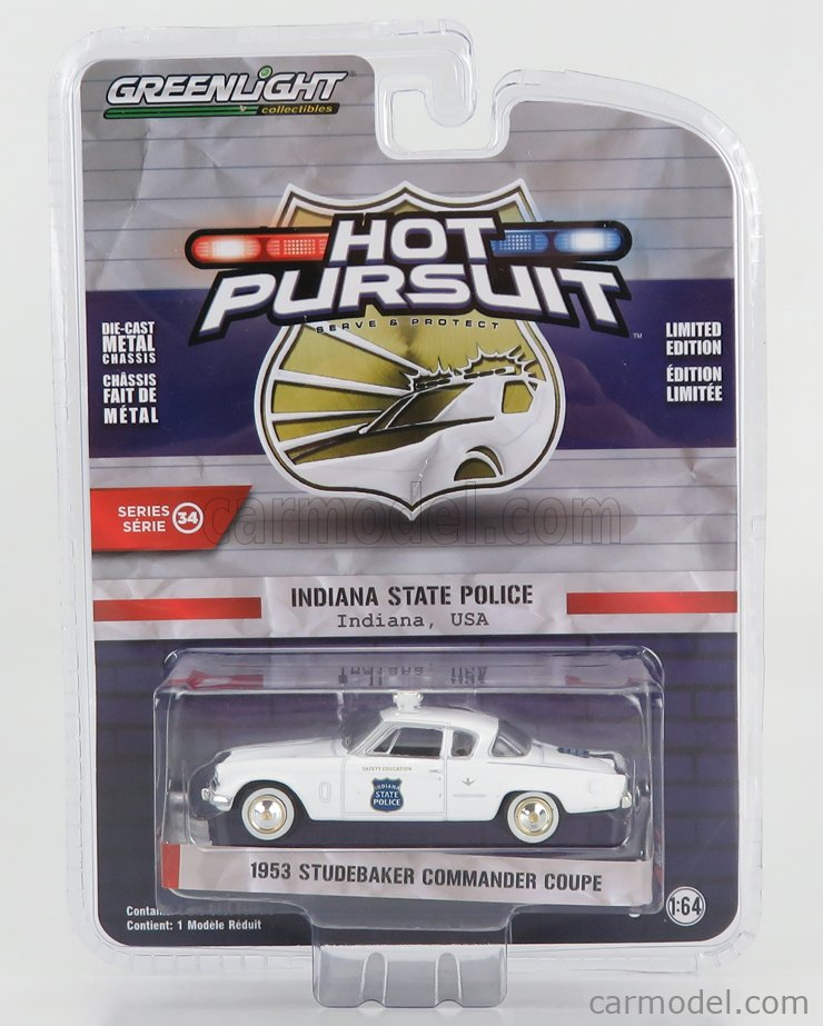 GREENLIGHT 42910A Echelle 1/64  STUDEBAKER COMMANDER COUPE INDIANA STATE POLICE 1954 WHITE