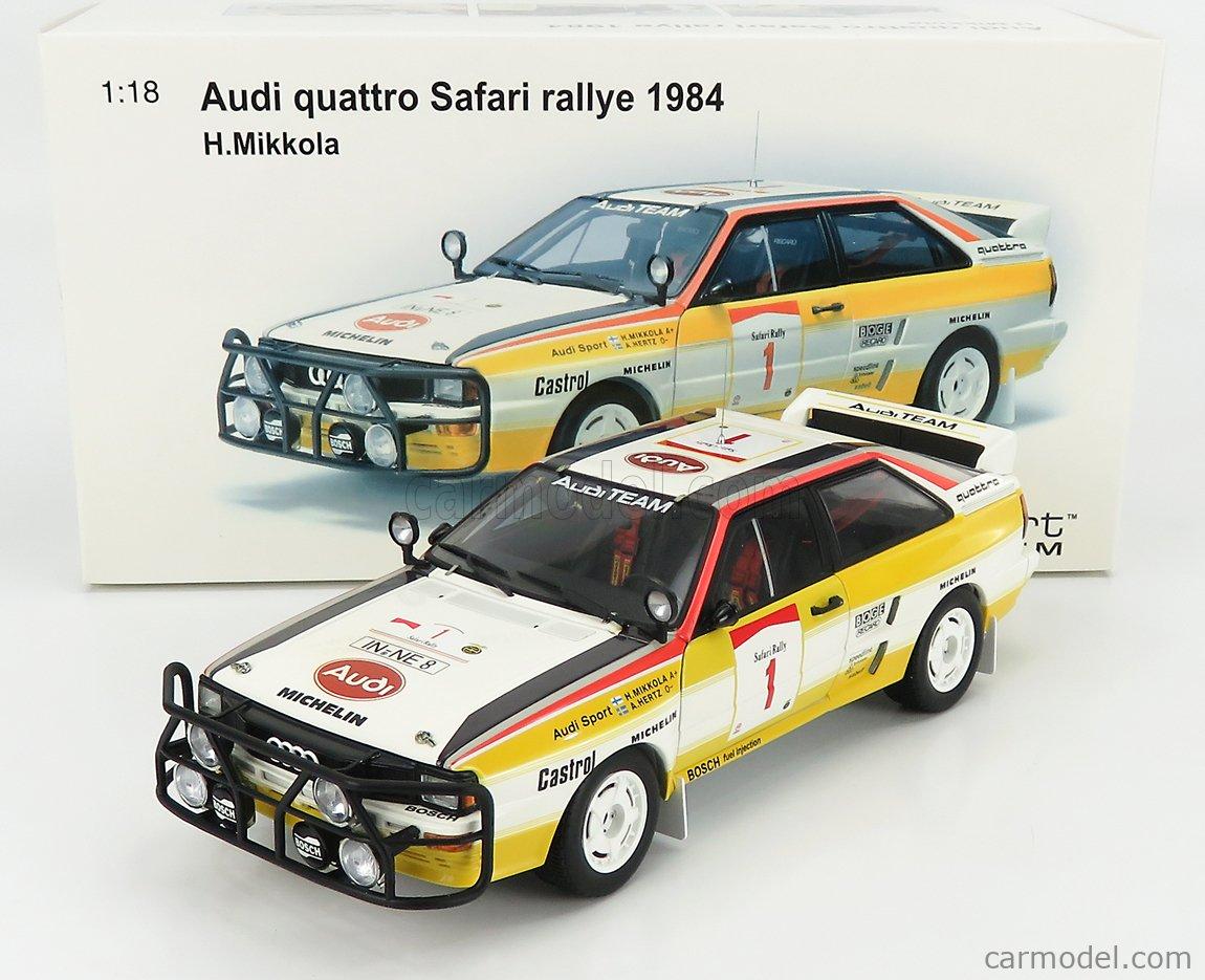AUTOART 88401 Scale 1/18  AUDI QUATTRO (night version) N 1 RALLY SAFARI 1984 H.MIKKOLA - A.HERTZ WHITE YELLOW