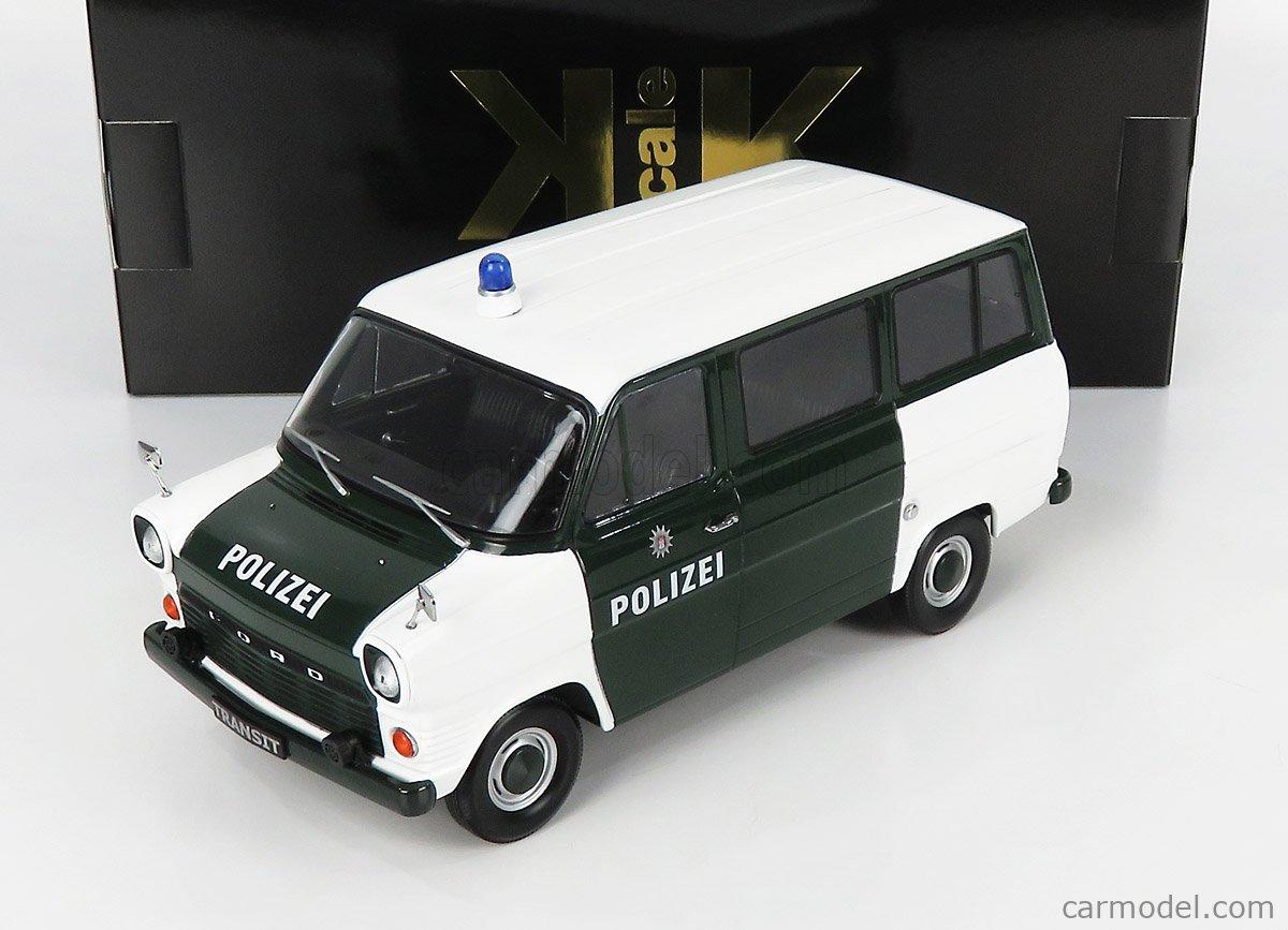 KK-SCALE KKDC180466 Echelle 1/18  FORD ENGLAND TRANSIT MKI MINIBUS HAMBURG POLIZEI 1965 WHITE GREEN