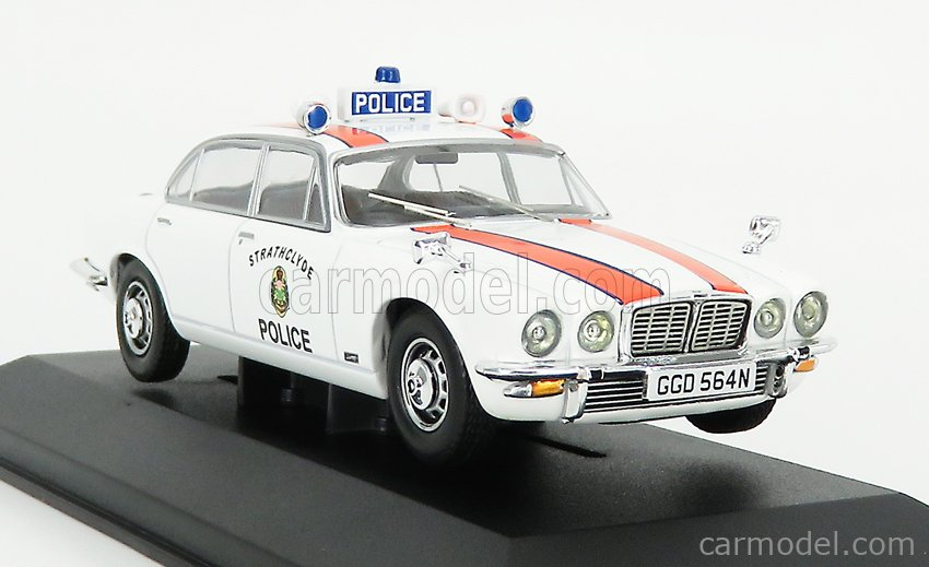 VANGUARDS VA13905 Echelle 1/43  JAGUAR XJ6 MKII 4.2L STRATHCLYDE POLICE 1971 WHITE ORANGE