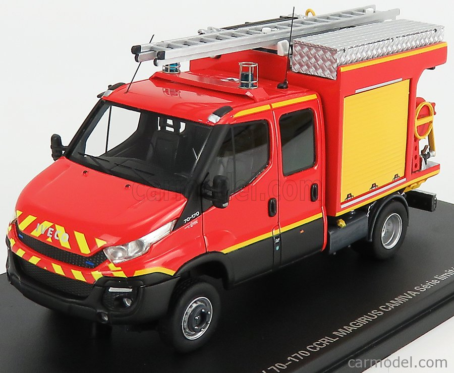 ALERTE ALERTE0091 Masstab: 1/43  IVECO FIAT NEW DAILY 70-170 DOUBLE CABINE CCRL SAPEURS POMPIERS MAGIRUS CAMIVA 2019 RED YELLOW