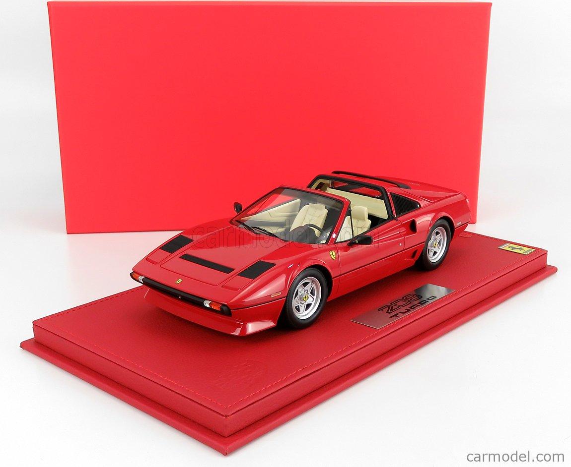 BBR-MODELS P18142A-VET Scale 1/18  FERRARI 208 GTS TURBO SPIDER 1983 - CON VETRINA - WITH SHOWCASE ROSSO CORSA - RED