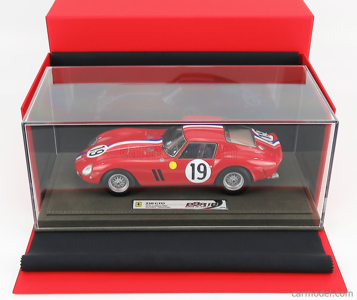 BBR-MODELS BBR1854-VET Scale 1/18  FERRARI 250 GTO COUPE ch.3705gt TEAM PIERRE NOBLET N 19 2nd 24h LE MANS 1962 J.GUICHET - P.NOBLET - CON VETRINA - WITH SHOWCASE RED WHITE BLUE