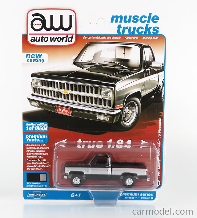 AUTOWORLD AWSP062B Scale 1/64  CHEVROLET SILVERADO 10 PICK-UP 1981 BLACK SILVER