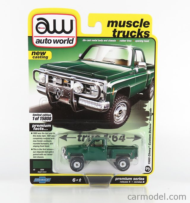 AUTOWORLD AWSP057B Scale 1/64  CHEVROLET CUSTOM DELUXE 10 PICK-UP 1980 GREEN