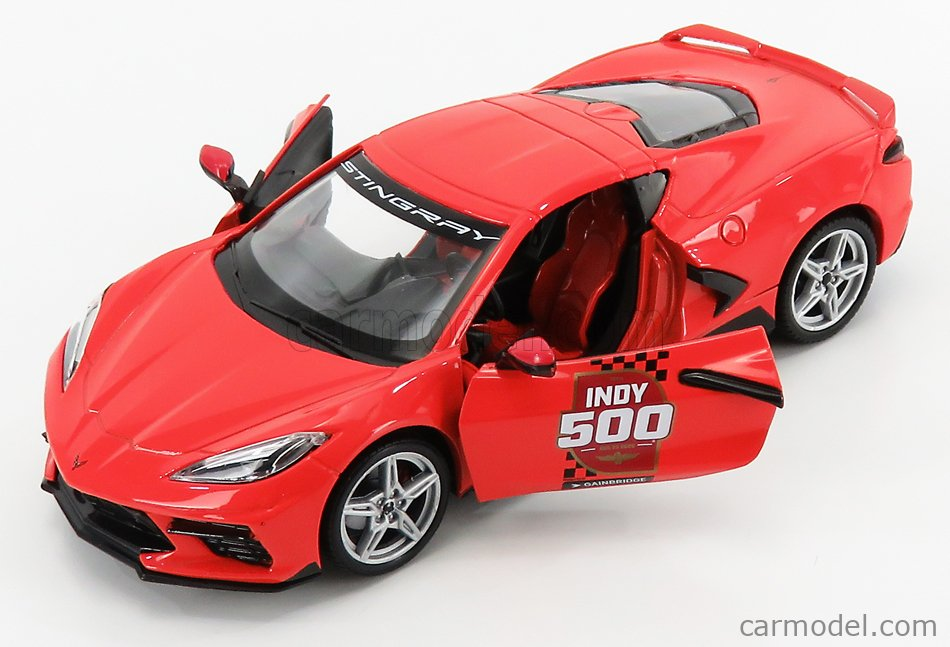 GREENLIGHT 18258 Scale 1/24  CHEVROLET CORVETTE C8 OFFICAL PACE CAR INDIANAPOLIS 500 MILE RACE 2020 RED